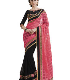 Buy Black embroidered satin saree with blouse satin-saree online