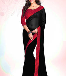 Buy Black - Red plain georgette saree with blouse party-wear-saree online