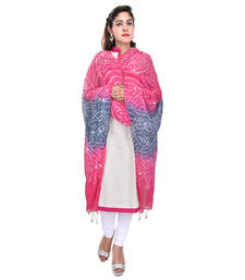 Buy Pink Grey Bandhej Cotton Hand Work Dupatta stole-and-dupatta online
