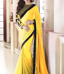 Buy Yellow  Plain  Georgette designer saree with blouse wedding-saree online