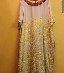 Buy YELLOW-RED NECK WITH MACHINE WORK kaftan online