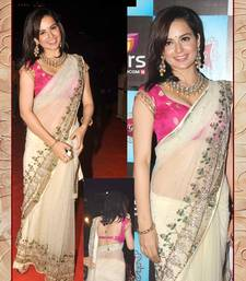 Buy white embroidered chiffon saree with blouse bollywood-saree online