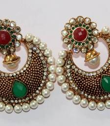 Buy BEAUTIFUL ANTIQUE FINISH HANGINGS WITH RED GREEN N WHITE PEARLS Earring online