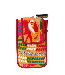 Buy Raw Silk Mobile Cover With Kutchhi Embroidery (multicolor 7) potli-bag online