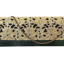 Buy Raw Silk Box Clutch with Cutwork Lace Flap (Black) clutch online