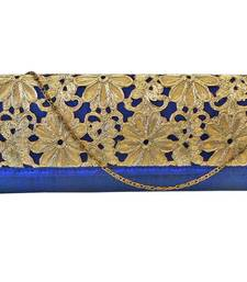 Buy Raw Silk Box Clutch with Cutwork Lace Flap (Blue) clutch online