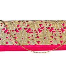 Buy Raw Silk Box Clutch with Cutwork Lace Flap (Pink) clutch online