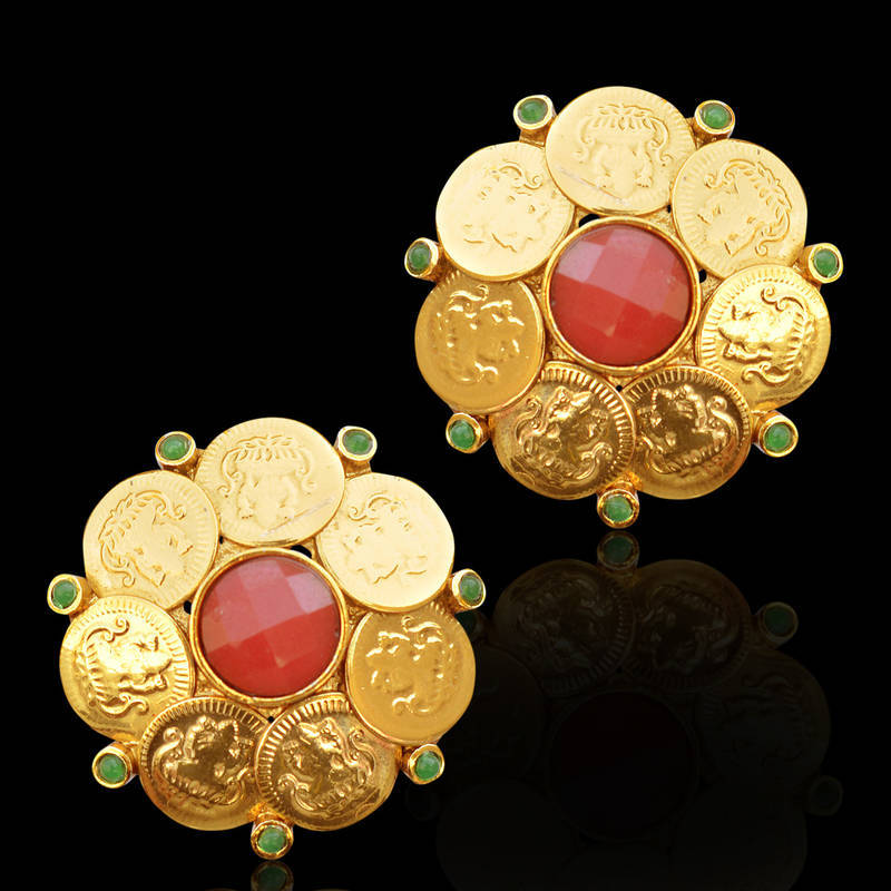 Buy Ethnic South Indian Bollywood Gold Finish Coin Stud