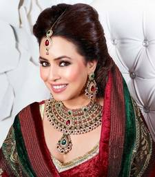 Buy Bridal Red Traditional Necklace Set with Maang Tikka necklace-set online