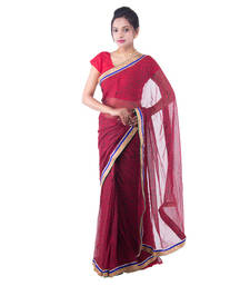 Buy Red Floral Chiffon saree with blouse chiffon-saree online