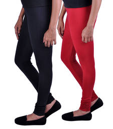 Buy Combo Pack of 2 Cotton , Lycra Leggings - Black & Maroon legging online