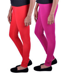 Buy Combo Pack of 2 Cotton , Lycra Leggings- Light Red & Magenta legging online