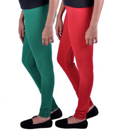 Buy Combo Pack of 2 Cotton , Lycra Leggings- Bottle Green & Red legging online