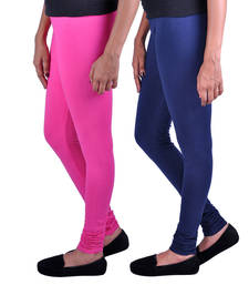 Buy Combo Pack of 2 Cotton , Lycra Leggings- Dark Pink & Navy Blue legging online