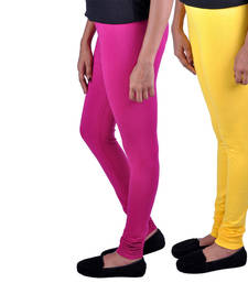 Buy Combo Pack of 2 Cotton , Lycra Leggings- Magenta & Yellow legging online