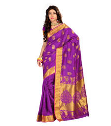 Buy Purple woven silk saree with blouse silk-saree online
