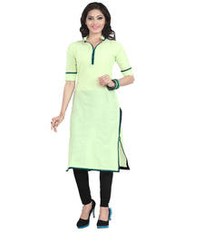Buy Refreshing Green Cotton Kurti kurtas-and-kurti online