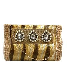 Buy Sequinned Work Clutch with 3 Pearl Regal Brooch (Gold 1) clutch online