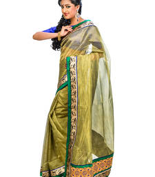 Buy Green hand woven net saree with blouse supernet-saree online