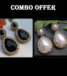 Buy Buy 2 Fancy Black & Pearl Stone Earrings jewellery-combo online