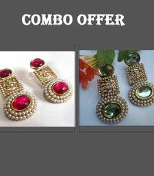 Buy Buy 2 Sea Green and Dark Pink Pearl Earrings jewellery-combo online