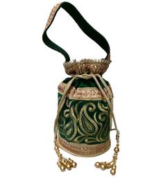 Buy Royal Raw Silk Batwa (Green) potli-bag online