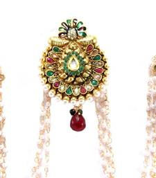 Buy bridal ruby green Pearl  bun pin earring hair-accessory online