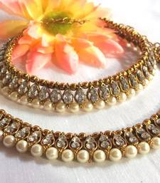 Golden white stone anklet  shop online