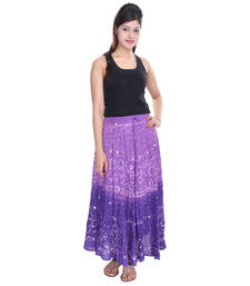 Buy Purple Shaded Cotton Long Bandhej Skirt skirt online