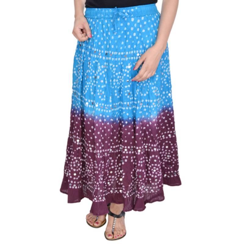 buy blue magenta work bandhani skirt