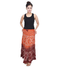 Buy Orange Brown Bandhej Hand Work Long Skirt skirt online