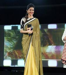 Buy Simple yet stylish Bollywood style designer dual fabric saree by deepika padukone deepika-padukone-saree online