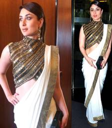 Buy Off white colored designer party wear sizzling georgette saree by kareena kapoor kareena-kapoor-saree online