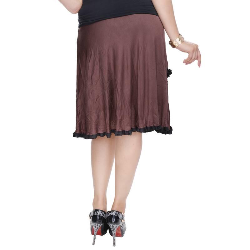 buy brown knee length cotton lycra flair skirt