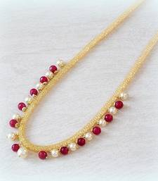 Buy FINE AD FILLED RUBY PEARL GOLDEN CHAIN Necklace online
