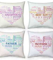 Buy Heart Shape Word Printed Cushions For Whole Family gifts-for-mom online
