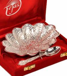 Buy Silver Polish Brass Bowl with Spoon Mothers Day anniversary-gift online