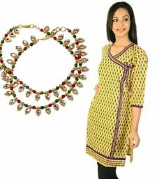 Buy Ethnic Designer Yellow Cotton Kurti Mothers Day gifts-for-mom online