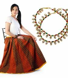 Buy Ethnic Red Black Cotton Lehanga Skirt Mothers Day gifts-for-mom online