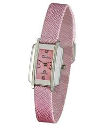 Buy Silver Finish Pink Leather Wrist Watch Mother Day Gift gifts-for-mom online