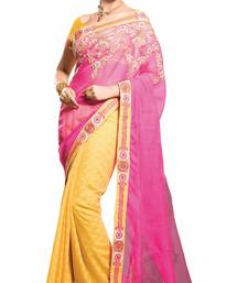 Buy Yellow and Magenta plain cotton saree with blouse cotton-saree online