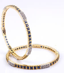 Buy Graceful Gold Plated Bangles with Blue and  stones bangles-and-bracelet online