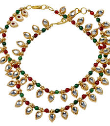 Buy Colourful Cute Meenakari Design Brass Payal Anklet anklet online