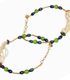 Buy Graceful White n Green Designer Brass Payal Anklet anklet online