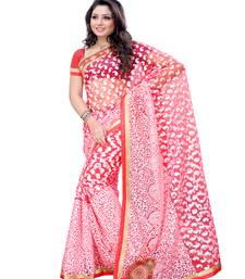 Buy Pink embroidered viscose saree with blouse brasso-saree online