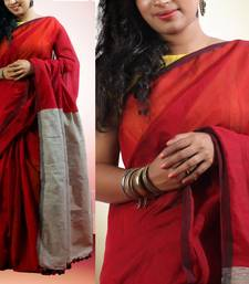 Buy MAROON hand woven jute cotton saree with blouse jute-saree online