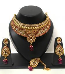 Buy Designer Wedding Bridal Choker Necklace Set With Maang Tikka necklace-set online