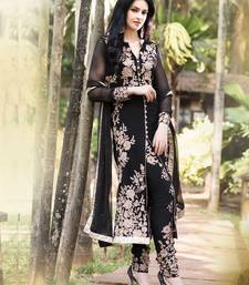 Buy Black embroidered georgette semi-stitched salwar with dupatta party-wear-salwar-kameez online