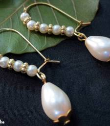 Buy White_Pearls_White_Drop_Long_Hook hoop online