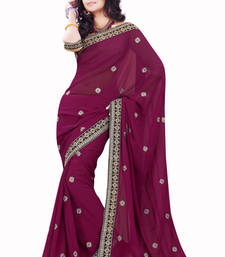 Buy Wine embroidered Faux Georgette saree with blouse wedding-saree online